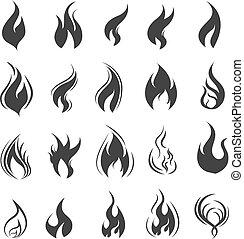 set, iconen, vuur, vector, zwarte achtergrond, witte