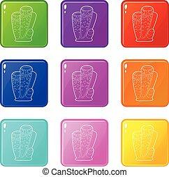 set, iconen, zuil, coraal, verzameling, kleur, negen