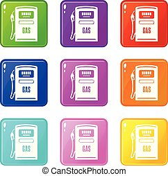 set, iconen, zuil, gas, verzameling, kleur, negen