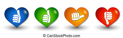 Set icons buttons in the shape of heart. Thumbs up green and...