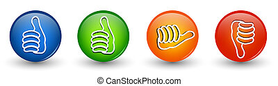 Set icons buttons. Thumbs up green and blue - orange neutral...