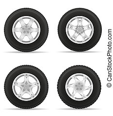 set icons car wheel tire from the disk illustration isolated...
