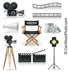 set icons cinematography cinema and movie vector ...