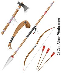set icons edged weapons american indians vector illustration