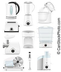 set icons electrical appliances