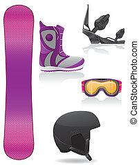 set icons equipment for snowboardin