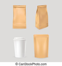 Packaging fast food realistic set. Fast food packaging corporate ...