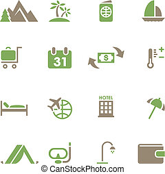 Set icons for travel and tourism.