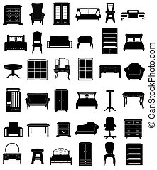 set icons furniture black silhouette outline illustration