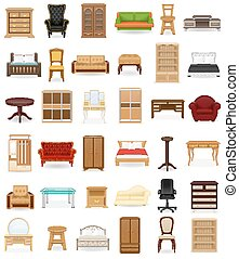 set icons furniture vector