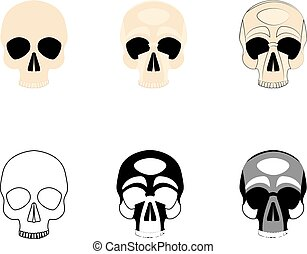 Set icons human skulls logo in various styles, silhouette, line, color, simple, monochrome