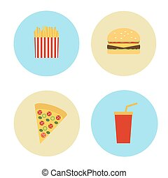 Set Icons in the circles of fast food. Vector illustration
