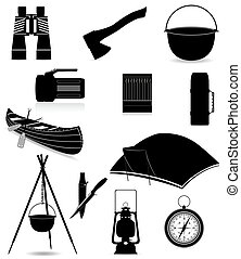 set icons items for outdoor recreation black silhouette...