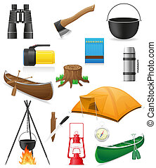 set icons items for outdoor recreation illustration isolated...