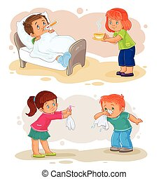 Set icons little boy sick and compassionate girl
