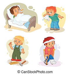 Set icons little boy sick