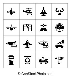 Set icons of aviation
