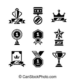 Set icons of awards and trophy
