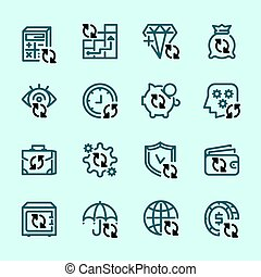 Set icons of banks and money, transactions