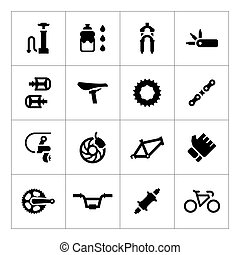 Set icons of bicycle parts and accessories