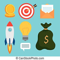 set icons of business start up concept