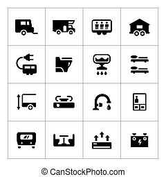 Set icons of camper, caravan, trailer isolated on white