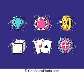 set icons of casino game
