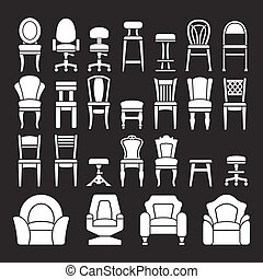 Set icons of chairs isolated on black