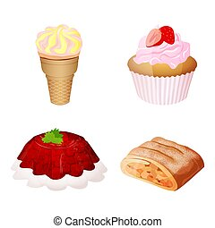 Set Icons Of Confectionery Product Consisting of Ice cream, Cupcake, Jelly, Apple strudel Isolated On White Background. Flat style. Vector illustration
