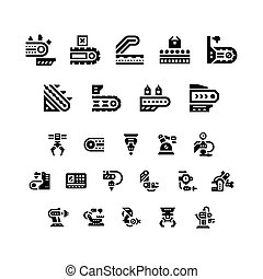 Set icons of conveyor and robotic industry isolated on...