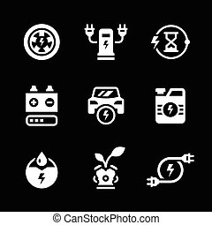 Set icons of electric car