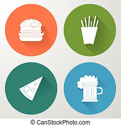 Set icons of fast food in flat style.
