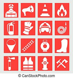 Set icons of firefighting equipment vector illustration