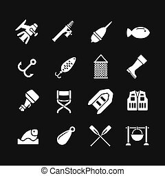 Set icons of fishing isolated on black