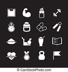 Set icons of fitness