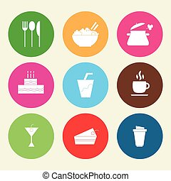 Set icons of food and drinks in flat style.