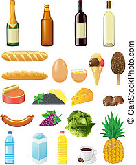 set icons of foods vector illustration isolated on white...