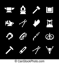 Set icons of forge isolated on black