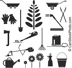 Set  Icons of Garden Tools.
