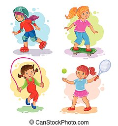 Set of vector icons of girls playing tennis, jumping rope, roller-skating and skateboard
