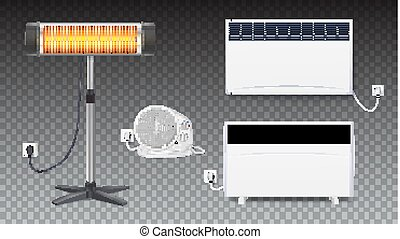 Set icons of heaters, household appliances on transparent background. Realistic convector, fan heater, UFO quartz heater with power cord and socket, isolated 3D illustration with shadows