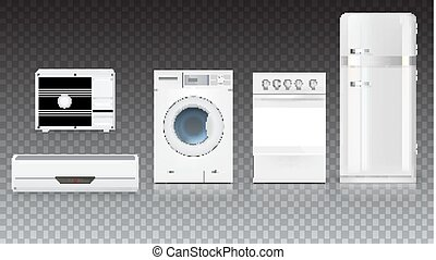 Set icons of household appliances on a transparent background. Air conditioning, washing machine, gas hob and white fridge, isolated 3D illustration with realistic shadows and reflections