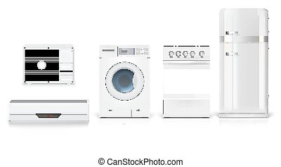 Set icons of household appliances on a white background. Air conditioning, washing machine, gas hob and white fridge, isolated 3D illustration with realistic shadows and reflections