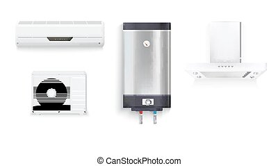 Set icons of household appliances on a white background. Air conditioning, water heater with chrome metal of front side, extractor hood isolated 3D illustration with realistic shadows and reflections