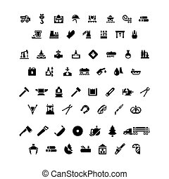 Set icons of industry. Metallurgical, oil, forge and sawmill...