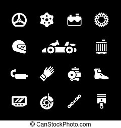 Set icons of karting isolated on black