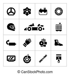 Set icons of karting isolated on white