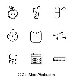 Set icons of linear weight loss. Vector illustration.