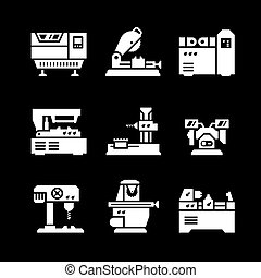 Set icons of machine tool isolated on black