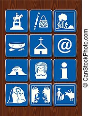 Set icons of monument, crafts, walk, archaeological ruins, church, internet, information, cockfight, bullfight. Icons in blue color on wooden background. Vector image